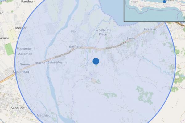 Map of Haiti showing MotoMeds impact zone